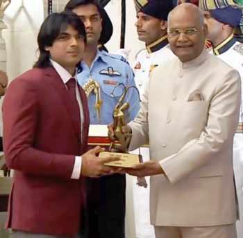Neeraj Chopra at Arjuna Award 2018